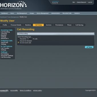 Horizon Hosted Call Recording
